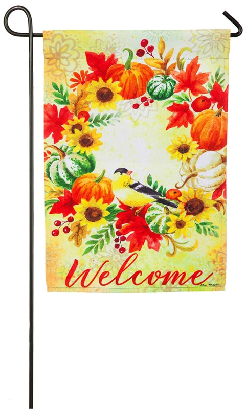 "Load image into Gallery viewer, ""Welcome Fall Wreath & Chickadees"" Printed Suede Seasonal Garden Flag; Polyester"