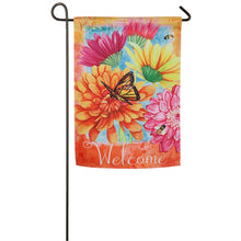 "Load image into Gallery viewer, ""A Colorful Welcome"" Printed Suede Seasonal Garden Flag; Polyester"