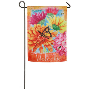 """A Colorful Welcome"" Printed Suede Seasonal Garden Flag; Polyester"