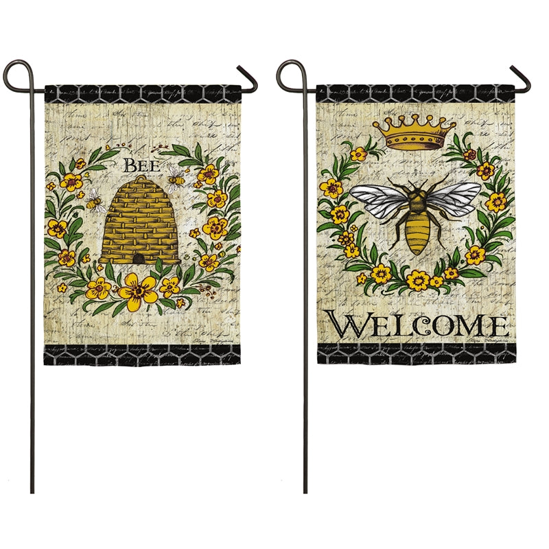 "Load image into Gallery viewer, ""Queen Bee"" Printed Suede Seasonal Garden Flag; Polyester"