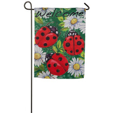 "Load image into Gallery viewer, ""Ladybugs on Green"" Printed Suede Seasonal Garden Flag; Polyester"