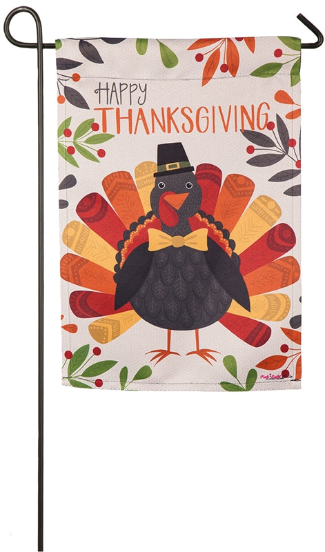 "Load image into Gallery viewer, ""Thanksgiving Turkey"" Printed Suede Garden Flag; Polyester"