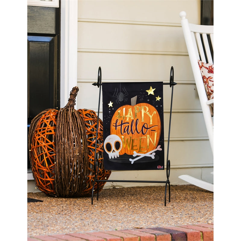 "Load image into Gallery viewer, ""Halloween Skull"" Printed Suede Garden Flag; Polyester"