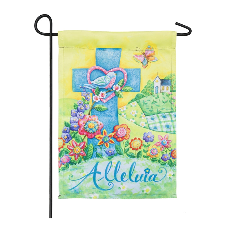 "Load image into Gallery viewer, ""Easter Alleluia"" Printed Suede Garden Flag; Polyester"