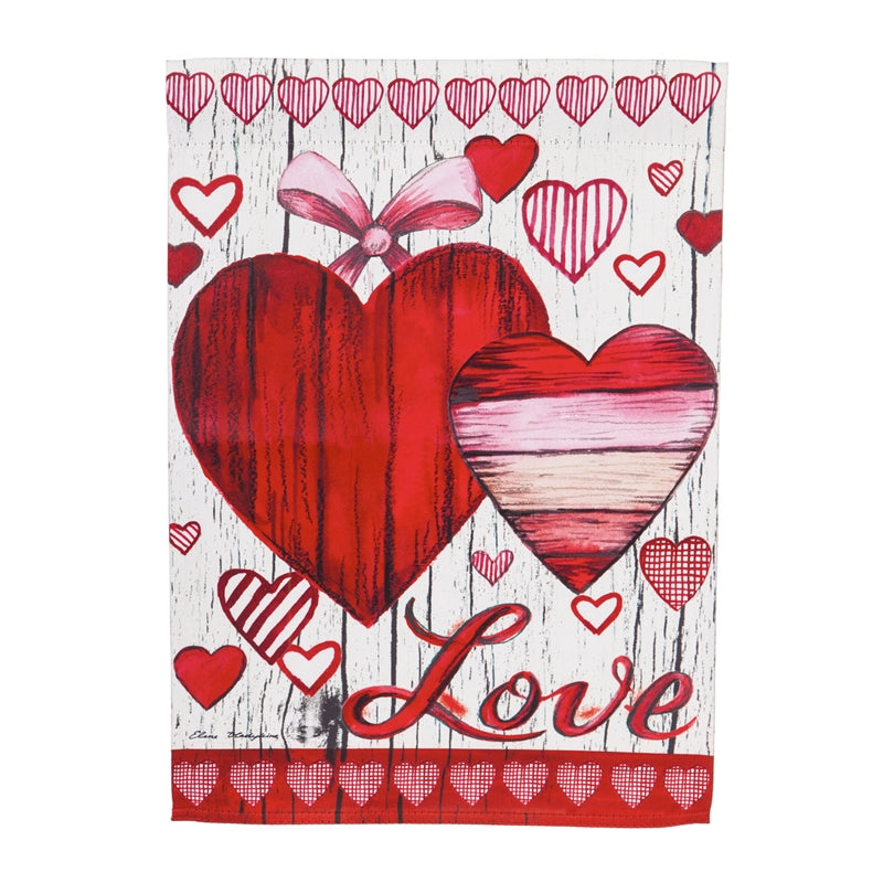 "Load image into Gallery viewer, ""Love Hearts"" Printed Suede Garden Flag; Polyester"