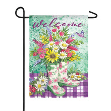 "Load image into Gallery viewer, ""Welcome Floral Garden Boots"" Printed Suede Garden Flag; Polyester"