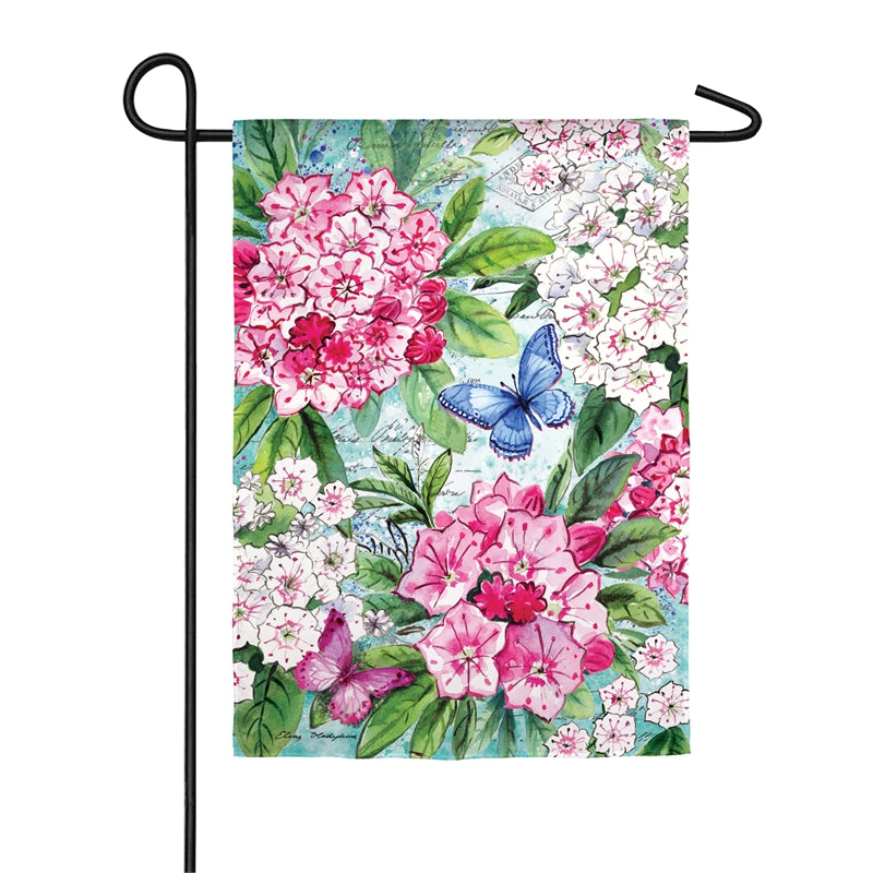 "Load image into Gallery viewer, ""Mountain Laurel"" Printed Suede Garden Flag; Polyester"