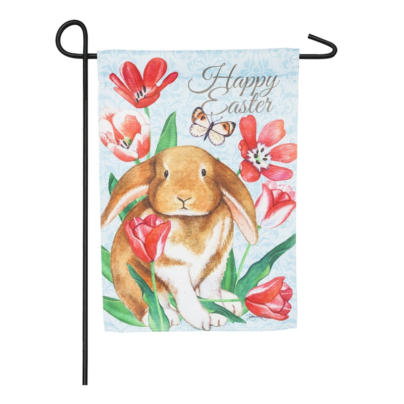 "Load image into Gallery viewer, ""Happy Easter Bunny"" Printed Suede Garden Flag; Polyester"