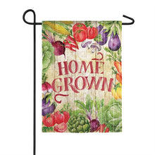 "Load image into Gallery viewer, ""Home Grown Garden"" Printed Suede Garden Flag; Polyester"