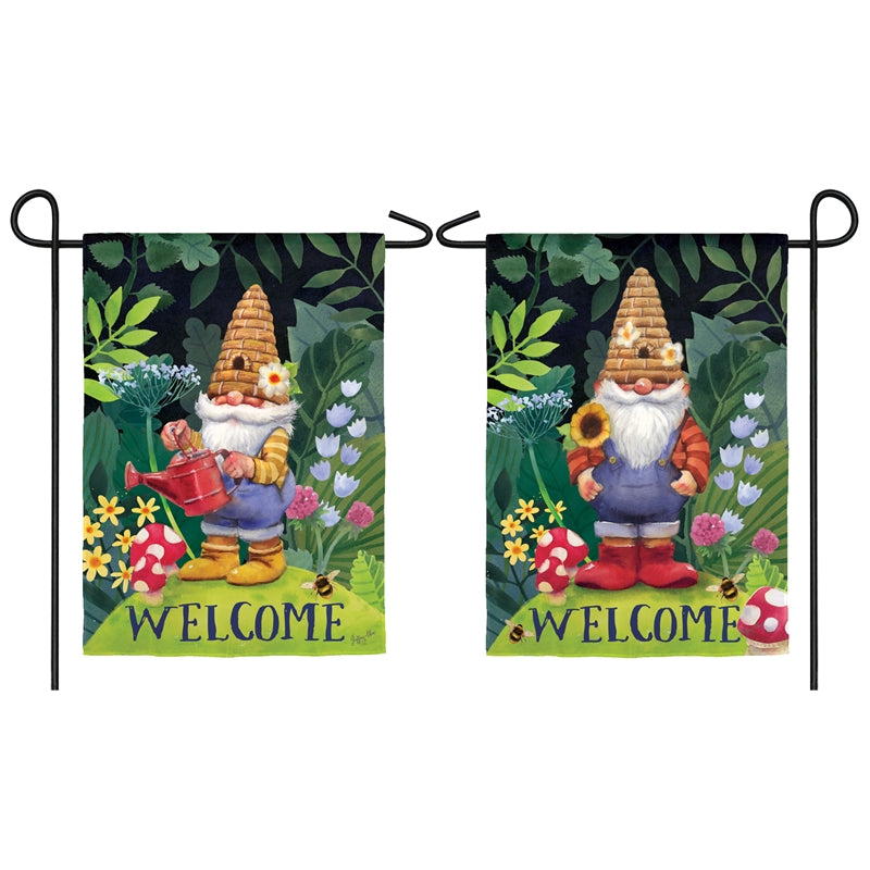 "Load image into Gallery viewer, ""Garden Gnomes"" Printed Suede Garden Flag; Polyester"