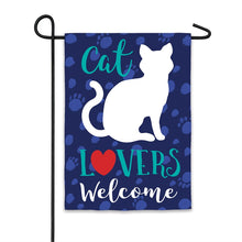 "Load image into Gallery viewer, ""Cat Lovers Welcome"" Printed Suede Garden Flag; Polyester"