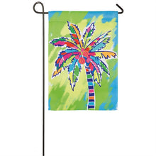 "Load image into Gallery viewer, ""Painted Palm Tree"" Printed Suede Garden Flag; Polyester"
