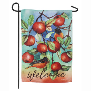 """Autumn Apples"" Printed Suede Seasonal Garden Flag; Polyester"