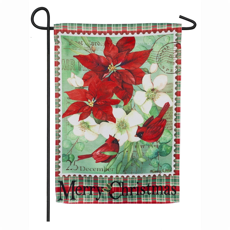 "Load image into Gallery viewer, ""Christmas Floral"" Printed Suede Garden Flag; Polyester"