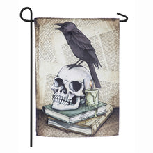"Load image into Gallery viewer, ""Raven on Skull"" Printed Suede Garden Flag; Polyester"