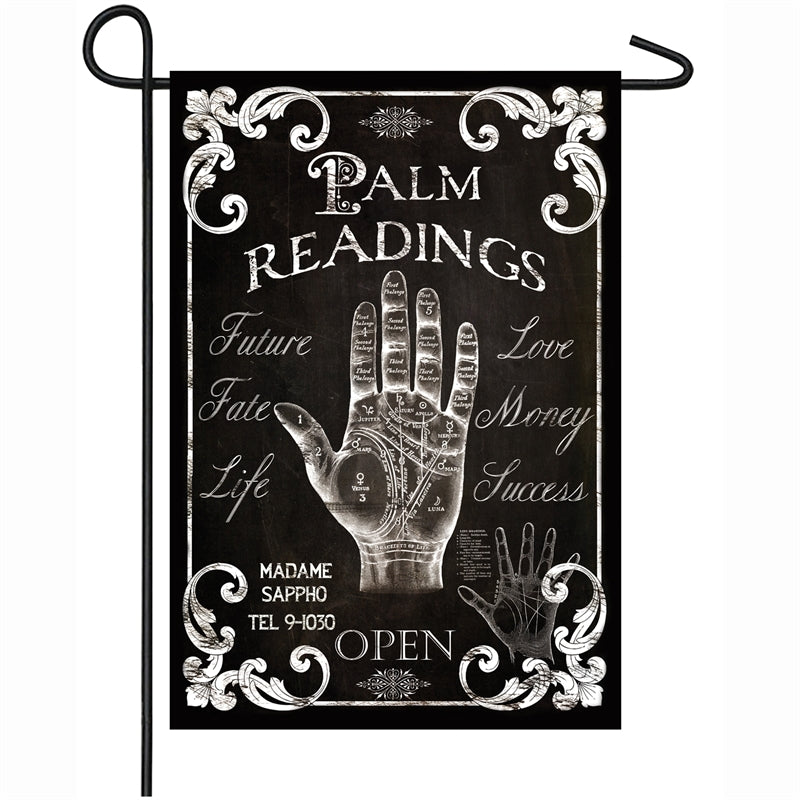 "Load image into Gallery viewer, ""Palm Readings"" Printed Suede Garden Flag; Polyester"
