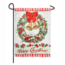 "Load image into Gallery viewer, ""Happy Christmas Bells Wreath"" Printed Seasonal Garden Flag; Polyester"