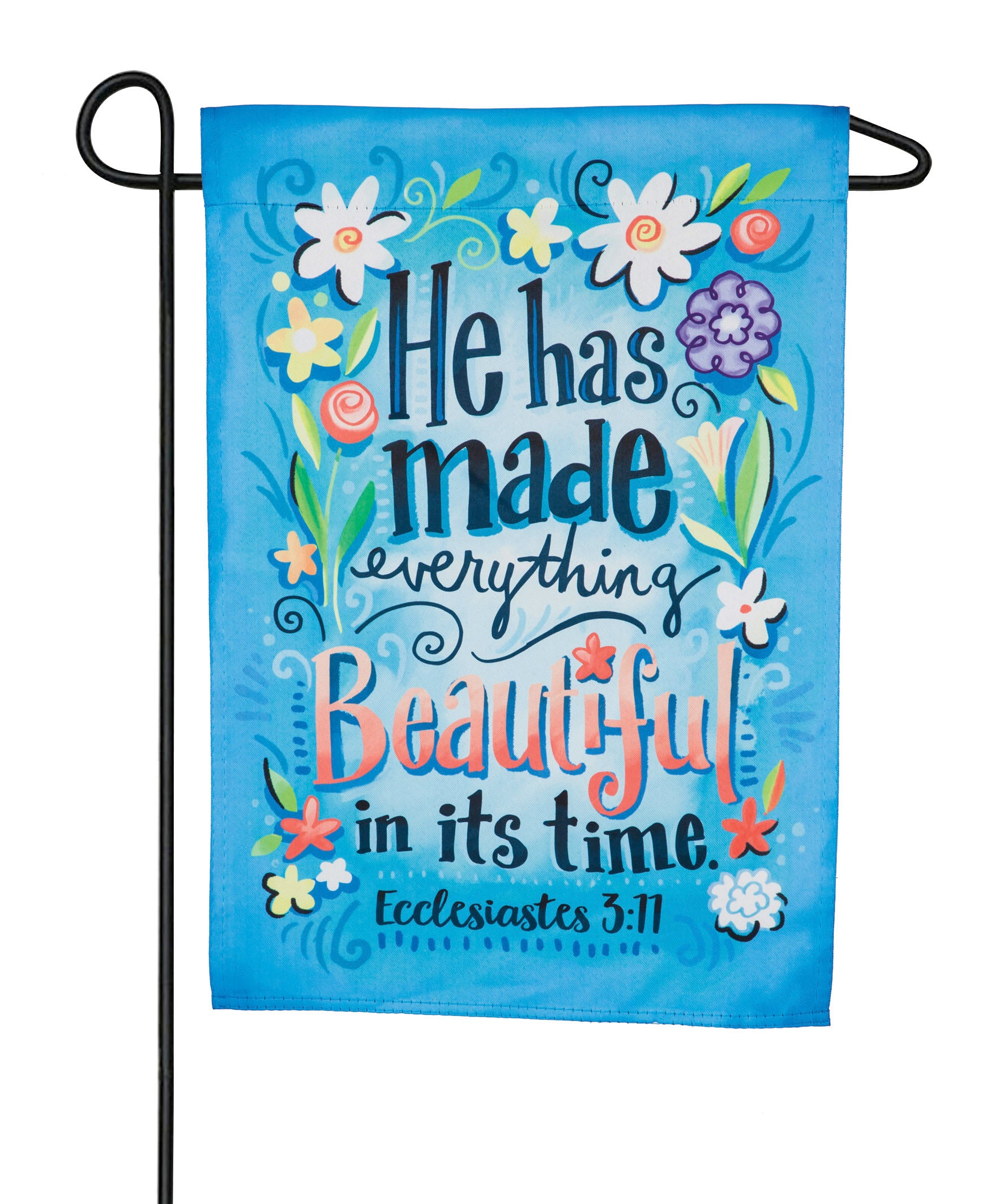 "Load image into Gallery viewer, ""He Has Made Everything Beautiful"" Printed Suede Garden Flag; Polyester"