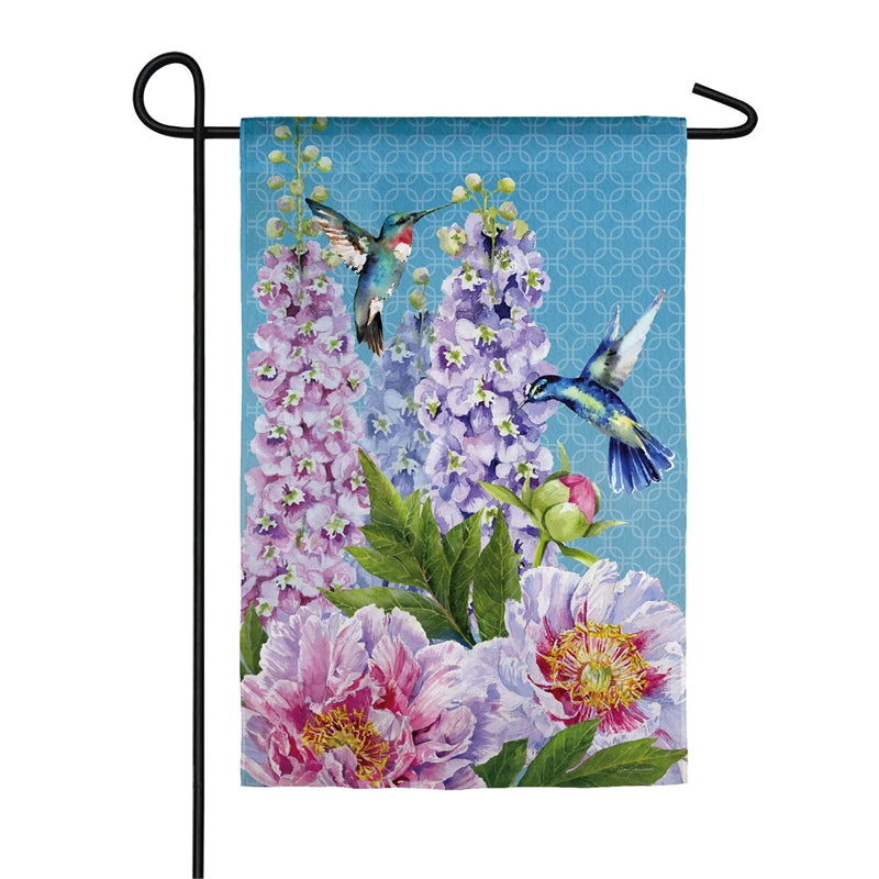 "Load image into Gallery viewer, ""Peonies & Hummingbirds"" Printed Suede Garden Flag; Polyester"