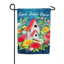 "Load image into Gallery viewer, ""Home Sweet Home Birdhouse"" Printed Suede Garden Flag; Polyester"