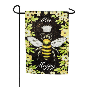 """Be Happy Queen Bee"" Printed Suede Garden Flag; Polyester"