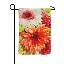 "Load image into Gallery viewer, ""Floral Tango"" Printed Suede Garden Flag; Polyester"