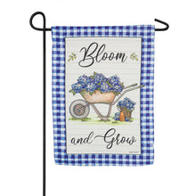 "Load image into Gallery viewer, ""Bloom and Grow"" Printed Suede Garden Flag; Polyester"