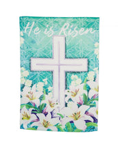 "Load image into Gallery viewer, ""Easter Cross"" Printed Suede Seasonal House Flag; Polyester"