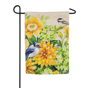 """Yellow Flowers & Birds"" Printed Suede Seasonal House Flag; Polyester"