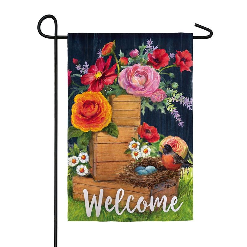"Load image into Gallery viewer, ""Vintage Wood Boxes & Robin"" Printed Suede Garden Flag; Polyester"