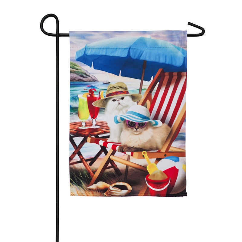 "Load image into Gallery viewer, ""Beach Cats"" Printed Suede Garden Flag; Polyester"
