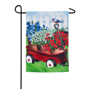 """Americana Red Wagon"" Printed Suede Garden Flag; Polyester"
