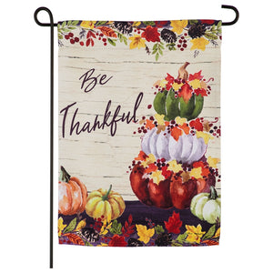 Be Thankful Pumpkin Stack Garden Flag