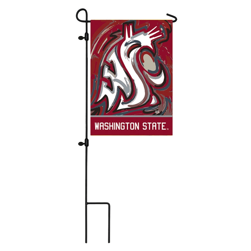 Load image into Gallery viewer, Washington State University Cougars Printed Suede Garden Flag; Polyester