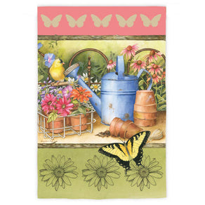 """Watering Can & Flowers"" Printed Seasonal Garden Flag; Polyester"