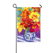 "Load image into Gallery viewer, ""Daylily Bouquet"" Printed Seasonal Garden Flag; Polyester"