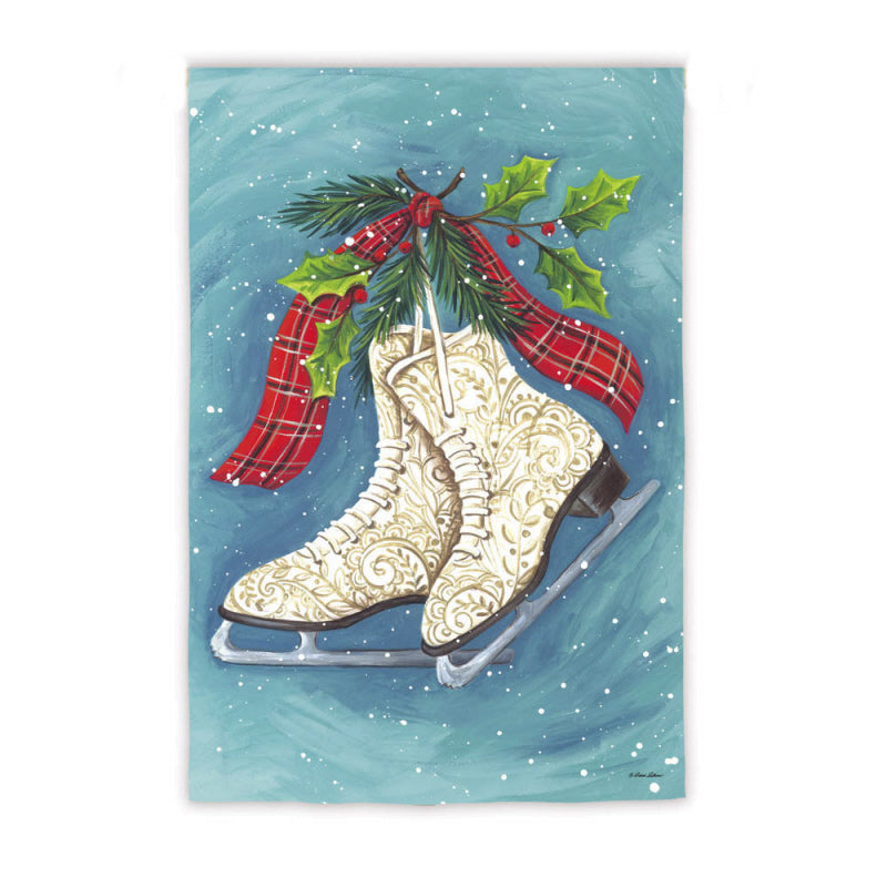 "Load image into Gallery viewer, ""Winter Ice Skates"" Printed Suede Seasonal Garden Flag; Polyester"