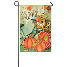 "Load image into Gallery viewer, ""I Love Pumpkins"" Printed Suede Seasonal Garden Flag; Polyester"