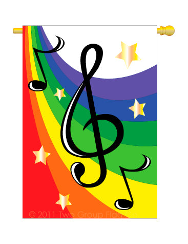 "Load image into Gallery viewer, ""Musical G Clef"" Seasonal Applique House Flag; Polyester"