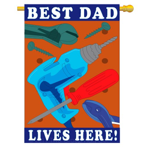 "Load image into Gallery viewer, ""Best Dad Lives Here"" Applique Seasonal House Flag; Polyester"
