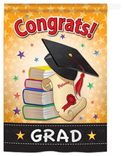"Load image into Gallery viewer, ""Congrats Grad"" Printed Seasonal House Flag; Polyester"