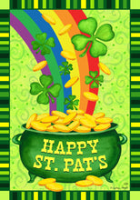 "Load image into Gallery viewer, ""Pot of Gold"" Printed Seasonal House Flag; Polyester"