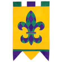 "Load image into Gallery viewer, ""Fleur De Lis"" Seasonal Applique House Flag; Polyester"