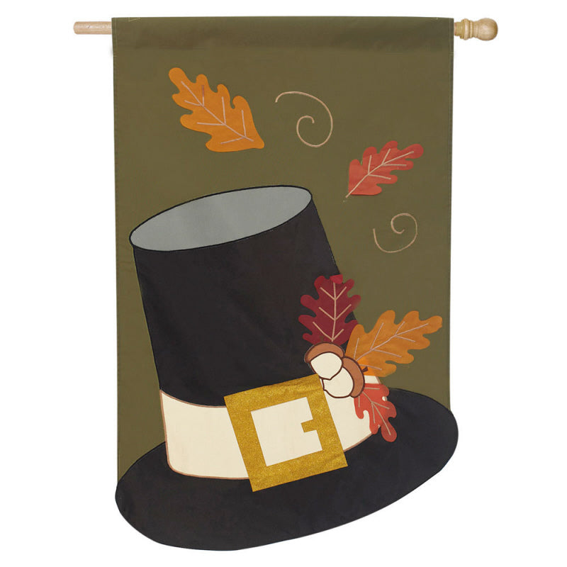 "Load image into Gallery viewer, ""Harvest Pilgrim Hat"" Applique Seasonal House Flag; Polyester"