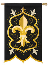 "Load image into Gallery viewer, ""Fleur de Lis"" Applique Seasonal House Flag; Polyester"