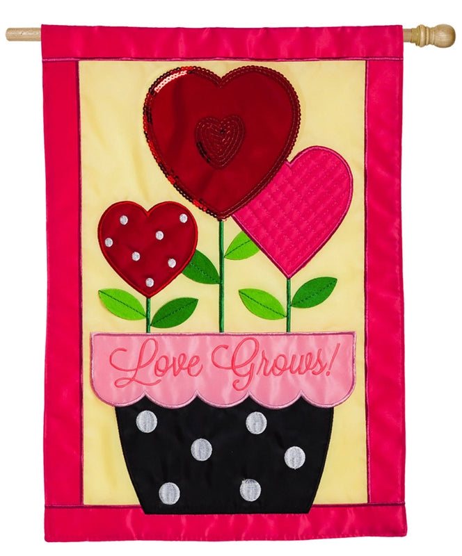 "Load image into Gallery viewer, ""Love Grows"" Applique Seasonal House Flag; Polyester"