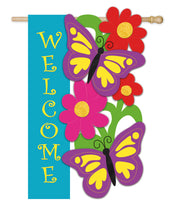 "Load image into Gallery viewer, ""Butterfly Welcome"" Applique Seasonal House Flag; Polyester"