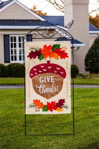"""Give Thanks Acorn"" Applique Seasonal House Flag; Polyester"