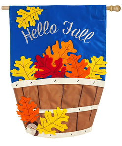 """Hello Fall Basket"" Applique Seasonal House Flag; Polyester"