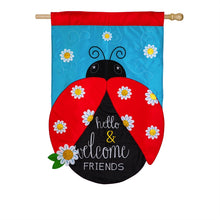 "Load image into Gallery viewer, ""Hello & Welcome Friends Ladybug"" Applique Seasonal House Flag; Polyester"